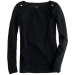 Jane's black sweater with gold shoulder buttons from J Crew at J. Crew