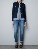 Jane's blue tweed jacket at Zara