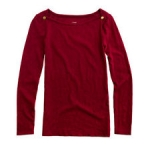 Jane's red sweater with gold shoulder buttons from J Crew at J. Crew
