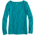 Jane's teal boatneck sweater at Jcrew at J. Crew