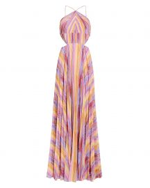 Janet Rainbow Stripe Pleated Gown at Intermix