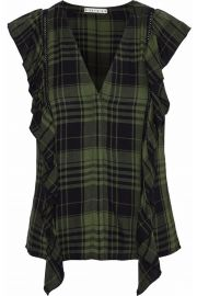Janet ruffle-trimmed checked flannel blouse alice and olivia at The Outnet