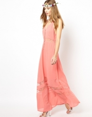 Jarlo  Jarlo Sienna Maxi Dress with Lace Hem Insert in coral at Asos