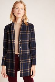 Jasmann Plaid Wool Coat at Anthropologie