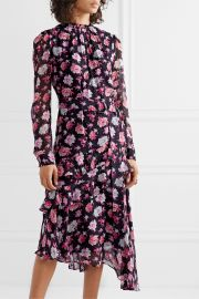 Jason Wu - Belted asymmetric ruffled floral-print silk-georgette midi dress at Net A Porter