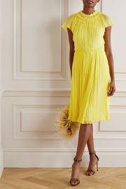 Jason Wu Collection - Embellished pleated silk-crepon dress at Net A Porter