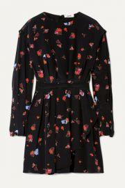 Jason Wu - Pleated floral-print silk crepe de chine mini dress at Net A Porter