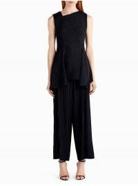 Jason Wu Asymmetrical Pinstripe Stretch Crepe Top With Drape at Orchard Mile