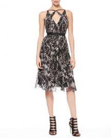 Jason Wu Botanical Crinkled Silk Dress at Neiman Marcus