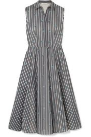 Jason Wu Collection - Embroidered striped cotton and silk-blend midi dress at Net A Porter