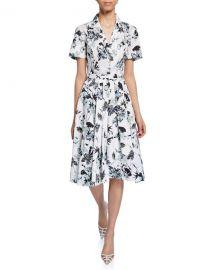 Jason Wu Collection Short-Sleeve Floral-Print Cotton Shirtdress at Bergdorf Goodman