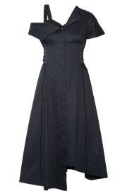 Jason Wu Lace-up asymmetric cotton-poplin dress at Net A Porter