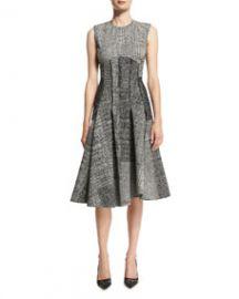 Jason Wu Sleeveless Houndstooth Jacquard Dress  Black Chalk at Bergdorf Goodman