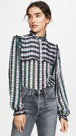 Jason Wu Striped Plaid Ruffle Blouse at Shopbop