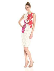 Jax  Sleeveless All Over Lace Sheath With Embroidered Flowers at Amazon