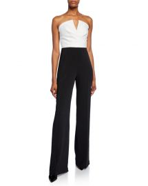 Jay Godfrey Dawson Strapless V-Neck Combo Jumpsuit at Neiman Marcus