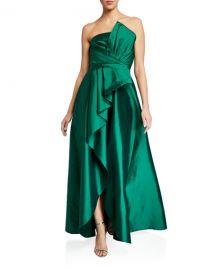 Jay Godfrey Callie Strapless Taffeta Gown w  Pleat Detail  amp  Draped Skirt at Neiman Marcus