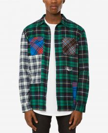 Jaywalker Pieced Patchwork Plaid Flannel Shirt at Macys