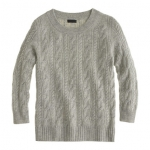 Jcrew Collection cashmere cable sweater in grey at J. Crew