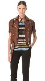 Jean Paul Gaultier Short Sleeve Leather Jacket at Shopbop