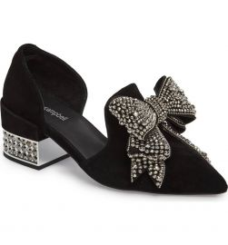 Jeffrey Campbell Valenti Black Suede Silver Embellished Bow Pointed Pump Loafer at Amazon