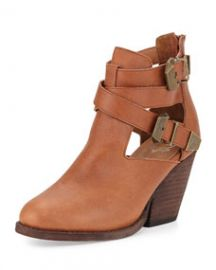 Jeffrey Campbell Watson Buckled Cutout Leather Bootie TanBronze at Neiman Marcus