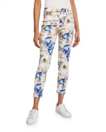 Jen7 by 7 for All Mankind Floral-Print Cropped Ankle Skinny Jeans at Neiman Marcus