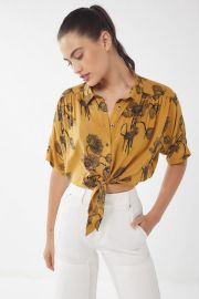 Jena Printed Tie-Front Blouse at Urban Outfitters