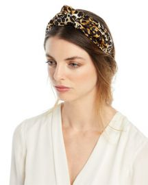 Jennifer Behr Fiona Silk Leopard Knotted Headband at Neiman Marcus