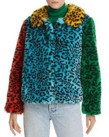 Jerri Color-Block Leopard-Print Faux Fur Coat by Alice  Olivia at Bloomingdales