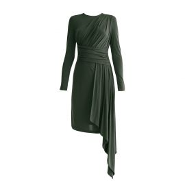 Jersey Dress With Ruched Detail & Side Skirt Drape In Dark Green at Wolf and Badger