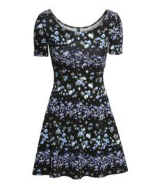 Jersey Dress in black floral at H&M