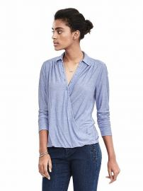Jersey Faux Wrap Shirt in Light Blue Heather at Banana Republic