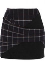 Jersey-paneled plaid twill mini skirt at The Outnet