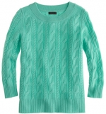 Jess Days green cable knit sweater at J. Crew