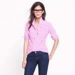 Jess Days pink gingham check shirt on New girl at J. Crew