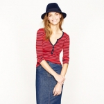 Jess Days red striped henley top at J. Crew