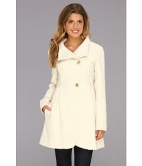 Jessica Simpson Jacquard Wool Coat Off White at Zappos