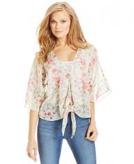 Jessica Simpson Martina Floral-Print Tie-Front Top - Juniors - Macys at Macys