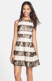 Jessica Simpson Metallic Stripe Lace Fit andamp Flare Dress at Nordstrom
