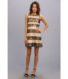 Jessica Simpson Pieced Lace Circle Skirt Dress With Rib Knit Back BlackGold at 6pm