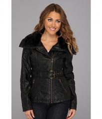 Jessica Simpson Vegan Leather Coat w Faux Fur Trim Black at 6pm