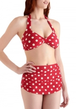 Jess's red polka dot bikini at ModCloth at Modcloth