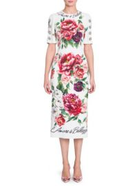 Jewel Button Peony Print Cady Dress Dolce Gabbana at Saks Fifth Avenue
