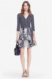Jewel Silk Combo Wrap Dress at DvF