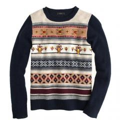Jeweled Fair Isle Stripe Sweater at J. Crew