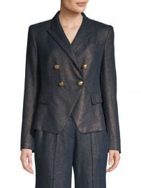 Jezebel Metallic Linen Double-Breasted Blazer at Saks Off 5th