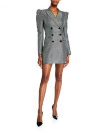 Jill Jill Stuart Blake Check Double-Breasted Puff-Sleeve Jacket Dress at Neiman Marcus