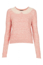 Jills pink sweater with lace collar on TCD at Topshop