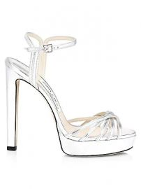 Jimmy Choo - Lilah Platform Metallic Leather Sandals at Saks Fifth Avenue